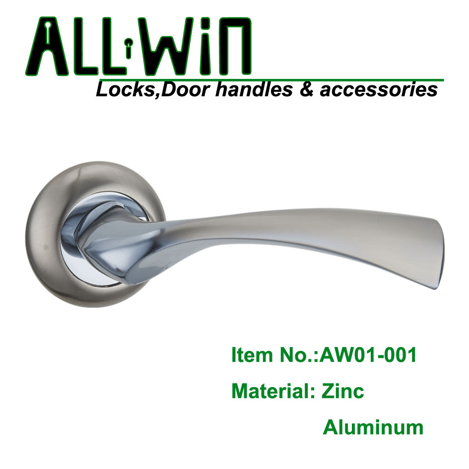 AW01-001 Aluminum Modern Door Handle on Round Rose