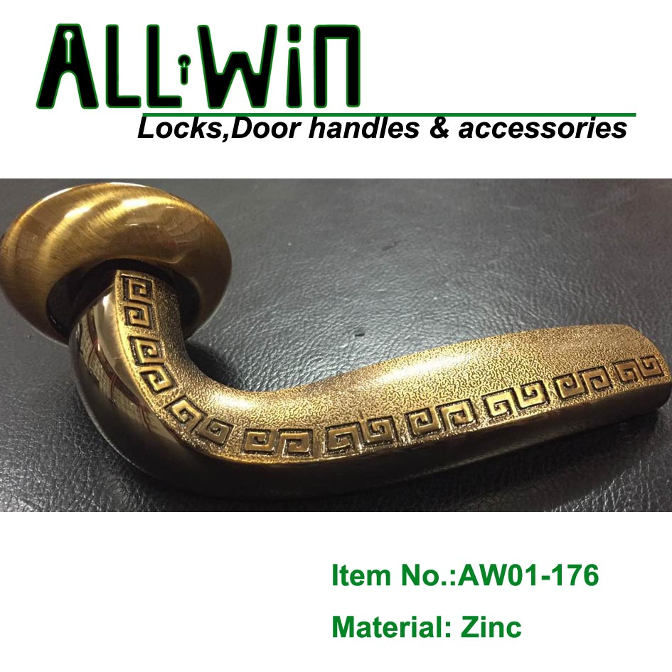 AW01-176 Aluminum Ancient Door Handle on Round Rose