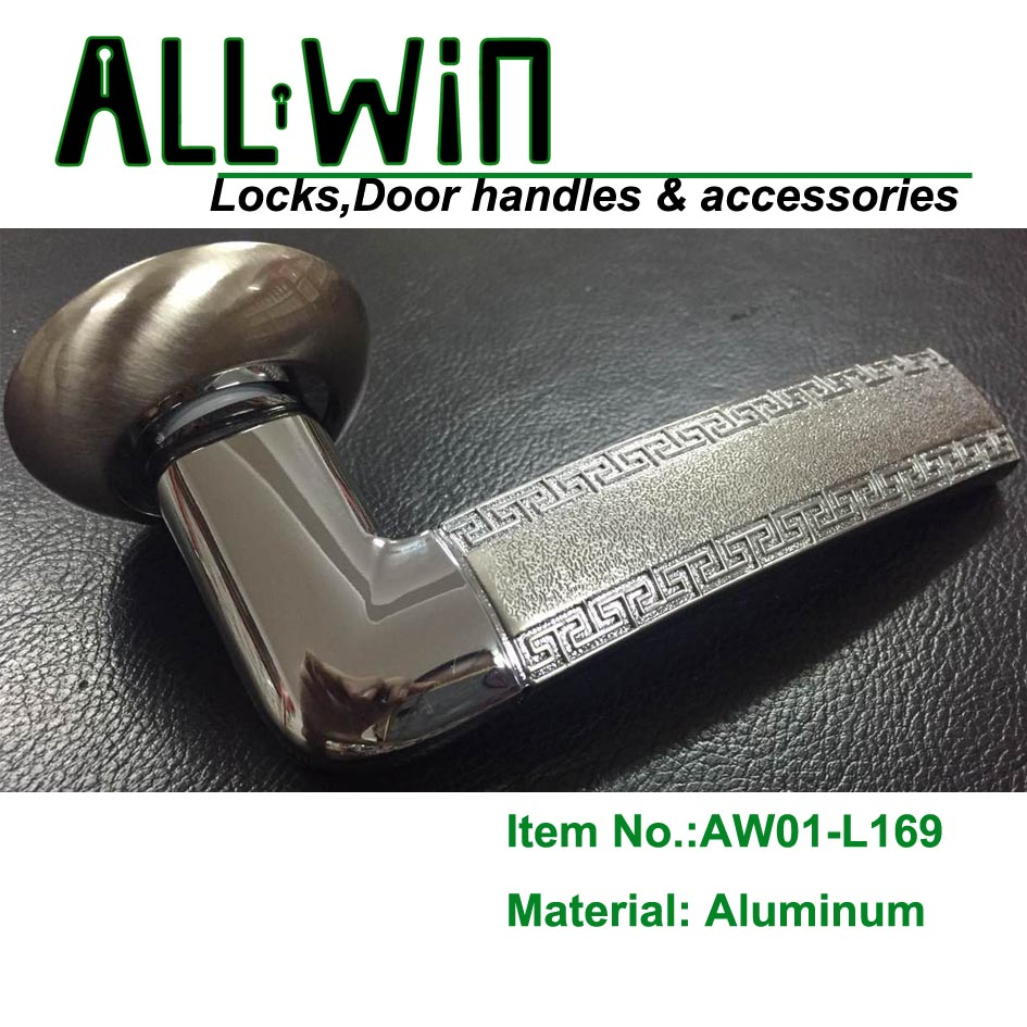 AW01-L169 Aluminum Door Handle on Round Rose