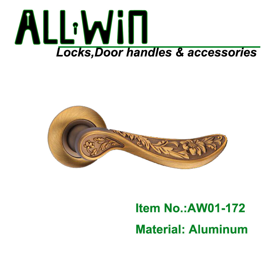 AW01-L172 Russia Aluminum Door Handle on Round Rose